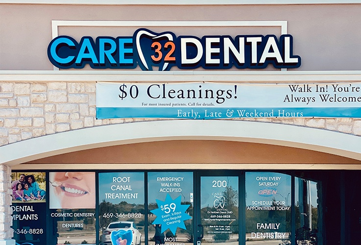 Exterior of Care 32 Dental in Grand Prairie